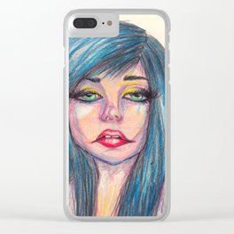 Blue Hair, Dont Care Clear iPhone Case