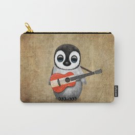 Baby Penguin Playing Austrian Flag Acoustic Guitar Carry-All Pouch