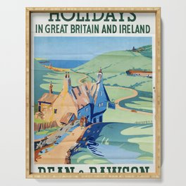 retro poster Holidays in Great Britain and Ireland Serving Tray