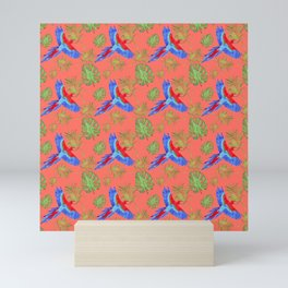 tropical pattern parrot macaw living coral Mini Art Print