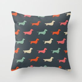 Dachshund Silhouettes   Colorful Patterned Wiener Dogs Throw Pillow