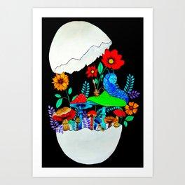Smoking caterpillar | Absolem | Alice in wonderland Art Print