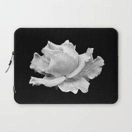 White Rose On Black Laptop Sleeve
