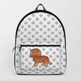 Cute Ruby Cavalier King Charles Spaniel Dog Cartoon Illustration Backpack