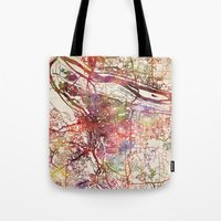 portland Tote Bags featuring Portland by MapMapMaps.Watercolors