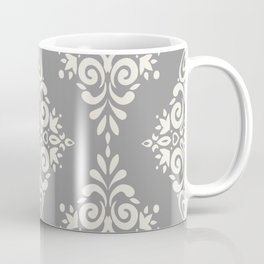 Modern Floral Damask Pattern – Neutral Medium Gray and Light Beige Coffee Mug