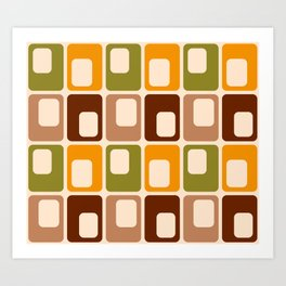 Retro 70s rounded capsules check orange brown geometrics Art Print