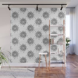 Passionflower Black and White Flower Illustrated Print Wall Mural