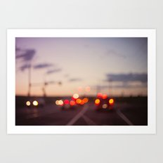 highway at dusk Art Print