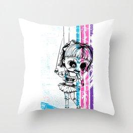 Deathly Chucky's Girl - Creepy Doll Throw Pillow