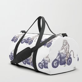 Tiger on a Motorcycle Duffle Bag