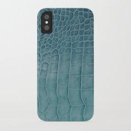 Croco leather effect - Aqua blue iPhone Case