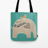 portlandia Tote Bags featuring Made in Brooklandia by Elephant Love