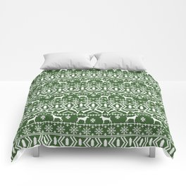 Jack Russell Terrier fair isle christmas sweater dog breed pattern holidays green and white Comforters