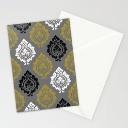 Decorative Damask Pattern BW Gray Gold Stationery Cards