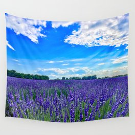 Wildflowers Blooming in a Meadow | Purple Lavender Perennials Deep Blue Sky Spring Landscape France Wall Tapestry