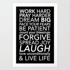 Work Pray Dream Art Print