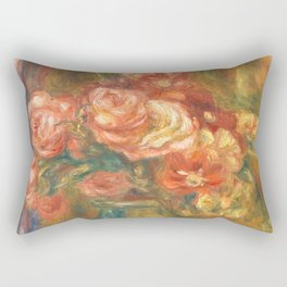 Renoir - Vase of Roses, 1890 Rectangular Pillow