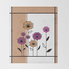 Floral applique , retro Throw Blanket