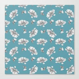 Hand painted gray white watercolor floral daisies Canvas Print