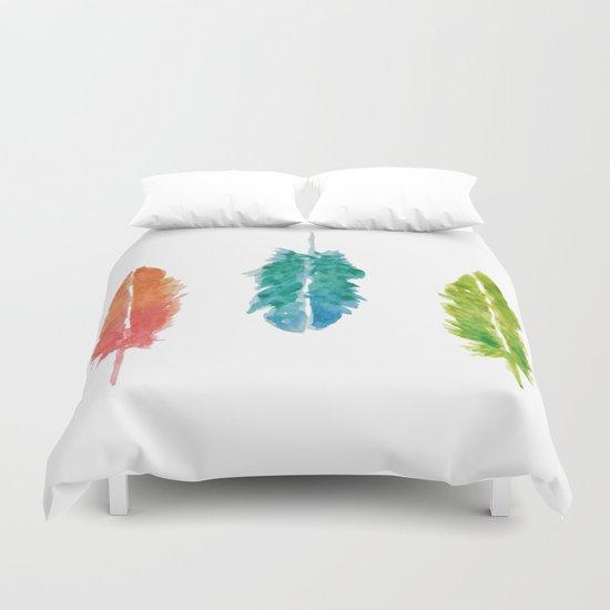 Vibrant color feathers Duvet Cover