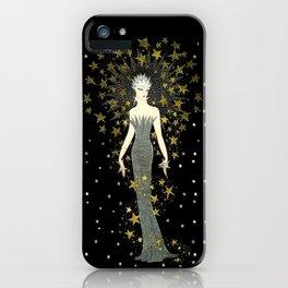 "Art Deco Sepia Illustration ""Star Studded Glamor"" iPhone Case"