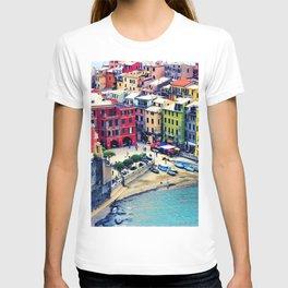 Italy Liguria Cinque Terre Seaside Colorful Houses T-shirt