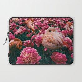 flamingos laugh in flowers Laptop Sleeve