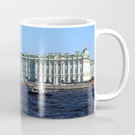 The facade of the Winter Palace. Embankment of the Neva River. Hermitage Museum. St. Petersburg. Coffee Mug