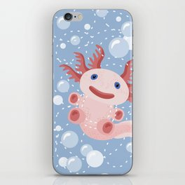Cute Axolotl and The Bubbles iPhone Skin