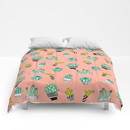 Summer Watercolor Cactus Modern Coral Pattern Comforters