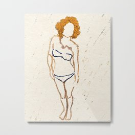Don't Look Now - Shy Ginger Girl Metal Print