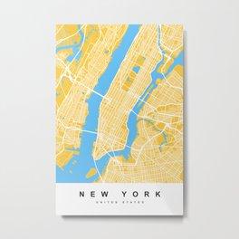 New York Map | Yellow & Blue Colors Metal Print