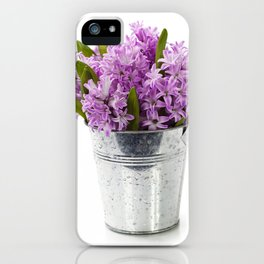 Beautiful Hyacinths in vase over white iPhone Case