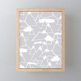 Mountain Scene in Grey Framed Mini Art Print