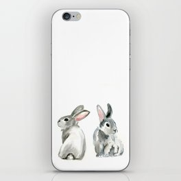 baby rabbit sister watercolor painting  iPhone Skin