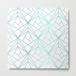 Geometric Turquoise Pattern Metal Print