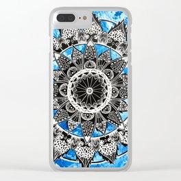 Blue Tiedye Mandala Clear iPhone Case