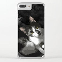 Gypsy Da Fleuky Cat and the Black Starry Night Clear iPhone Case