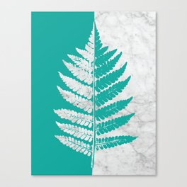 Natural Outlines - Fern Teal & White Marble #755 Canvas Print