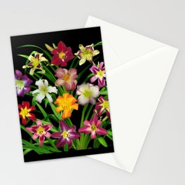 Display of daylilies II on blck Stationery Cards