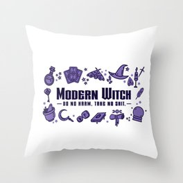 Modern Witch Do No Harm Throw Pillow