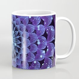 Accordant Electric Blue Fractal Flower Mandala Coffee Mug