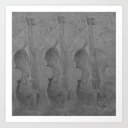 Violin by Lu, black-and-white Art Print