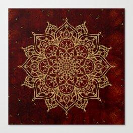 Deep Red & Gold Mandala Canvas Print