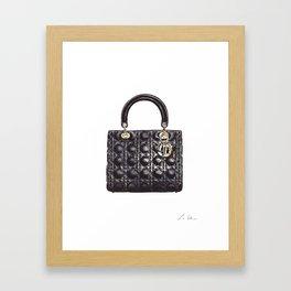 Lady Handbag in Black Leather Framed Art Print