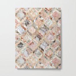 Rosy Marble Moroccan Tile Pattern Metal Print