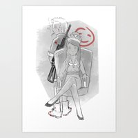 The Queen and her bloodied tigress Art Print