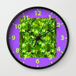 Chartruse-Yellow-Green Peridot Gems Abstract for August Wall Clock