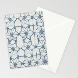 Simply Shibori Stars in Indigo Blue on Lunar Gray Stationery Cards